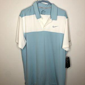 Nike Golf Dri Fit Polo White Blue Large NWT